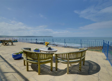 Superb vistas of Woolacombe beach from the terrace