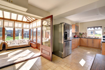 Kitchen looking into conservatory