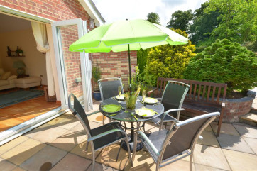 With garden furniture