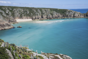 View of Porthcurno beach from the Minack Theatre