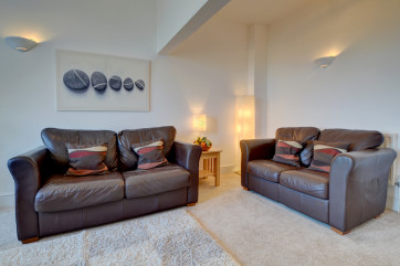 Snuggle down in the comfy leather sofas