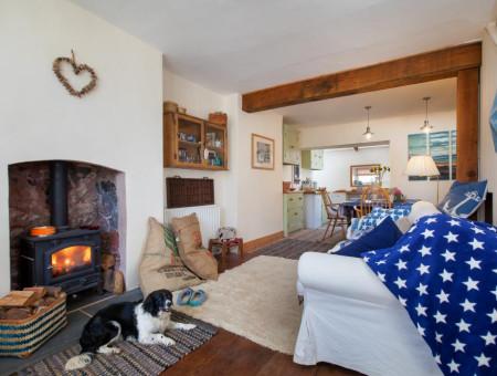 Star Cottage, Shaldon - Living area with woodburner