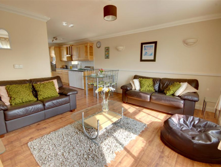 Comfortable leather sofas in this open plan living area