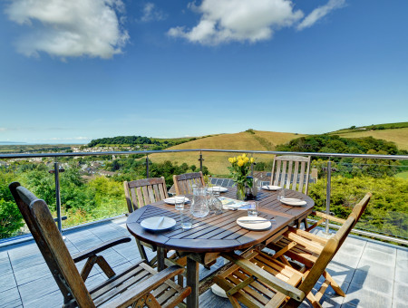 Ash Barn has stunning views across the village towards the dunes at Saunton and the ocean beyond