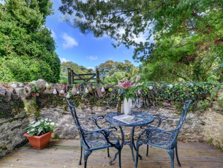 Picturesque patio with garden furniture