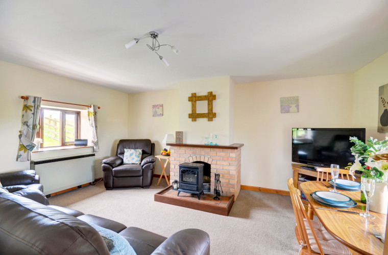 The sitting room has a TV, DVD player and electric wood burning effect stove