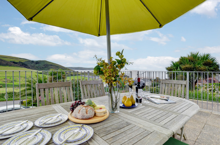 Stunning panoramic views of Woolacombe Bay from the sun terrace