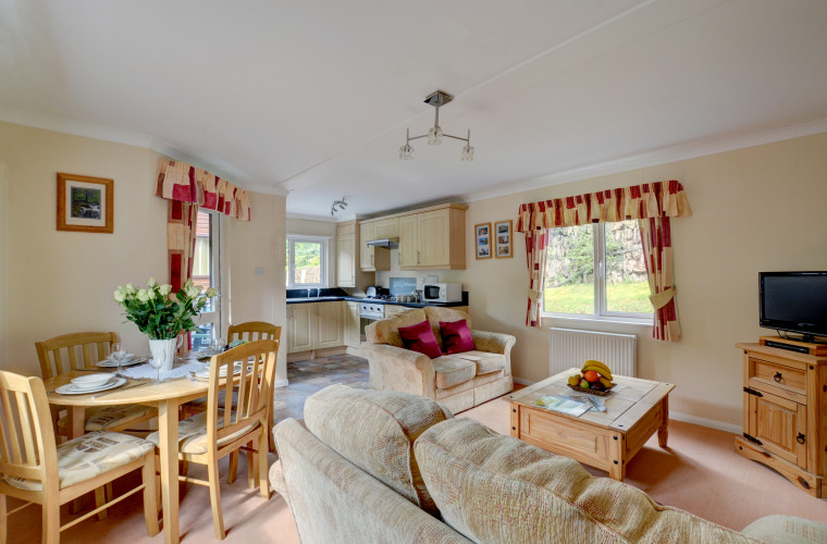 The comfortable living space has an inviting and cosy feel