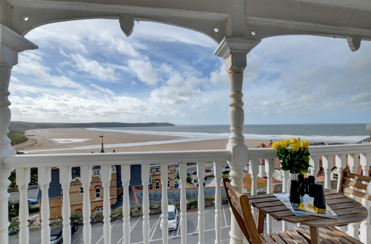 Stunning views of Woolacombe beach from the balcony