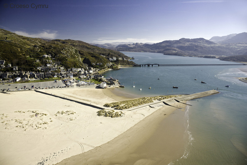 Barmouth's long, sandy, Blue Flag beach is a firm favourite with families