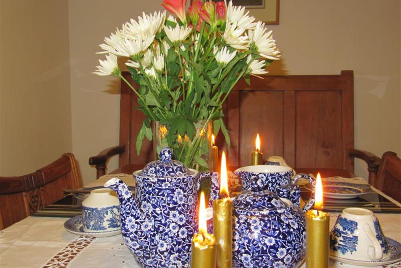 Traditional tea with Christmas candles