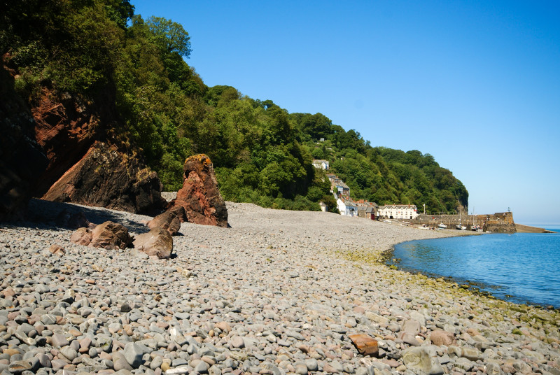 The beach at Clovelly, a historic fishing village